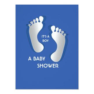 6.5x8.75 Blue Baby Boy Footprints Baby Shower Card