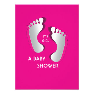 6.5x8.75 Pink Baby Girl Footprints Baby Shower Custom Announcement