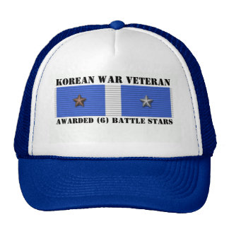 6 BATTLE STARS KOREAN WAR VETERAN TRUCKER HATS