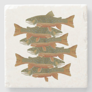 6 Brook Trout on a Coaster