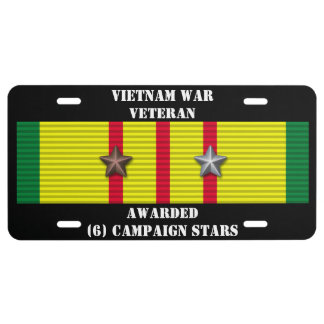 6 CAMPAIGN STARS VIETNAM WAR VETERAN LICENSE PLATE