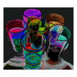 6 Coloured Cocktail Shot Glasses -Style 17 Posters