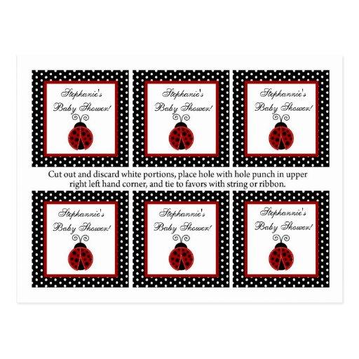 6 Favor Tags Red Ladybug Postcard