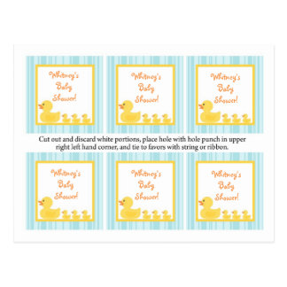 6 Favor Tags Rubber Ducky Bubbles Postcard