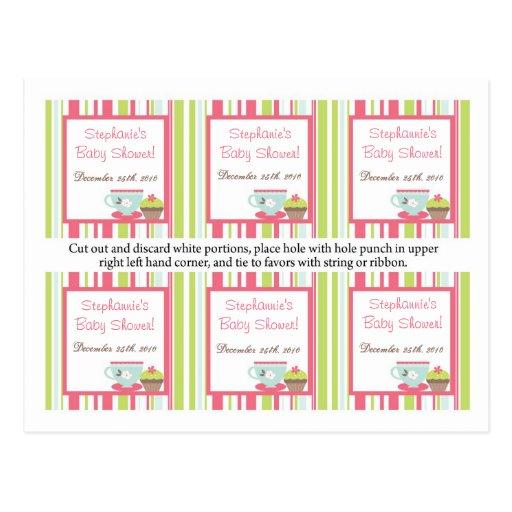 6 Favor Tags Tea Party Pink Pastel Flowers Postcards