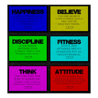 6 Fitness Quotes Poster in Brights