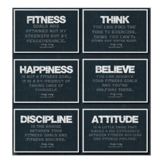 6 Fitness Quotes Poster in Denim
