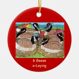 6 Geese a-Laying Ceramic Ornament