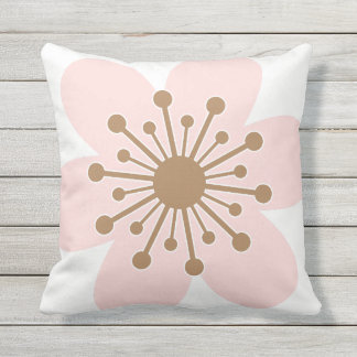 6 Petal Cherry Blossom, Pink and white Cushion