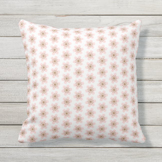 6 Petal Cherry Blossom, small, Pink and white Cushion