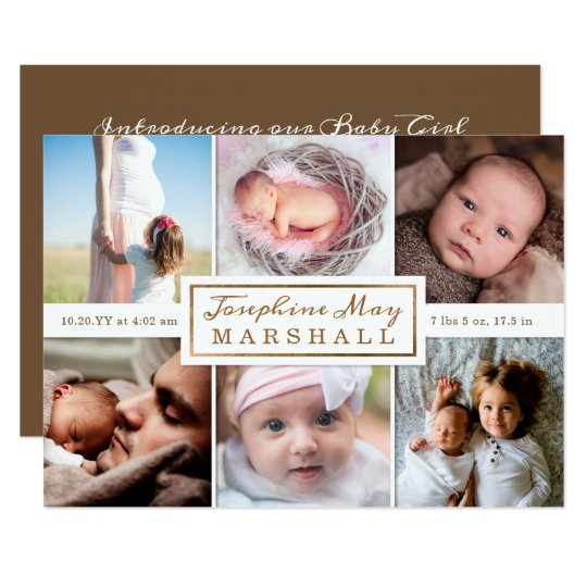 6 Photo Collage Personalised New Baby Announcement