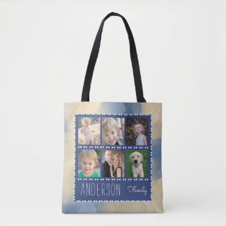 6 Photo Frames Family Collage Personalized Tote Bag