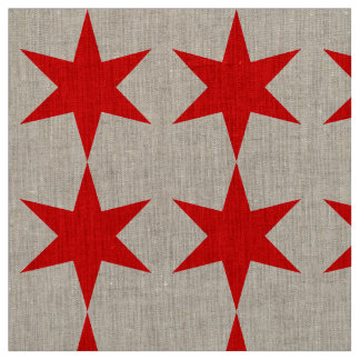 6-Pointed Chicago Flag Red Star Fabric