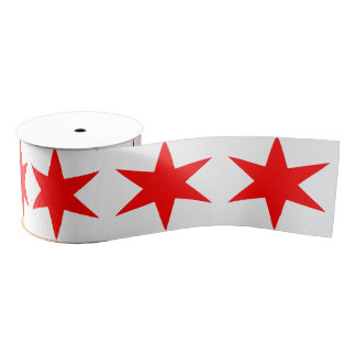 6-Pointed Chicago Flag Red Star Grosgrain Ribbon