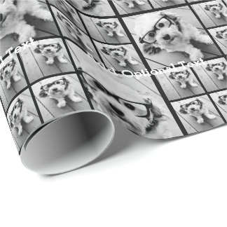 6 Square Photo Collage with Custom Text Wrapping Paper