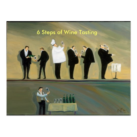 6 Steps of Wine Tasting Postcard