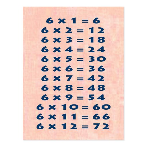 6 times table collectable postcard zazzle for Table 6 handbook 44