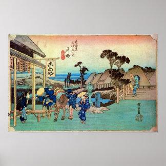 6. Totsuka inn, Hiroshige Poster