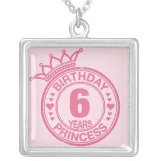 6 years - Birthday Princess - pink Silver Plated Necklace