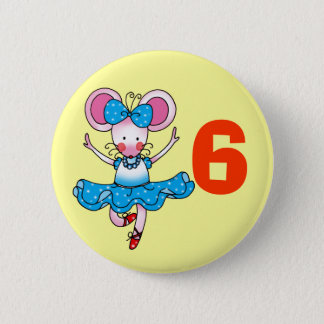 6h birthday gift for a girl, cute ballerina 6 cm round badge