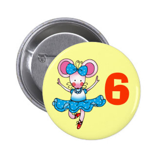 6h birthday gift for a girl, cute ballerina 6 cm round badge