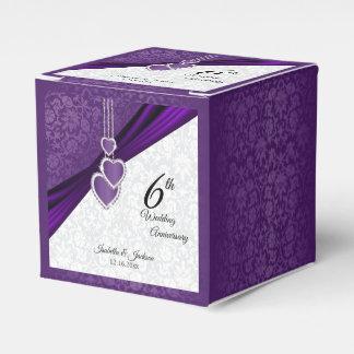 6th Amethyst Purple Wedding Anniversary Favour Box