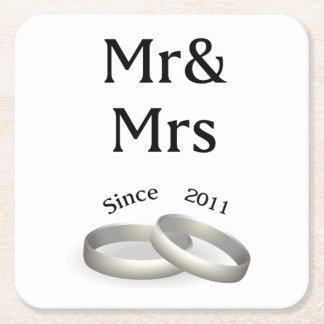 6th anniversary matching Mr. And Mrs. Since 2011 Square Paper Coaster