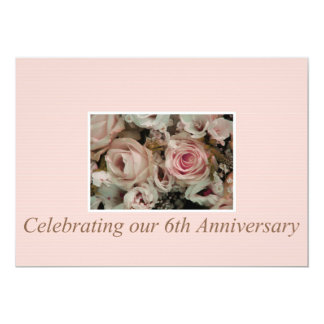 6th anniversary rose invitation