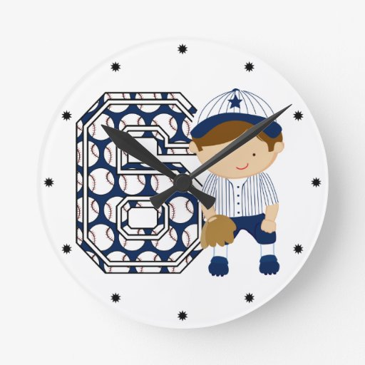 6th Birthday Baseball Catcher Blue and White Wall Clock