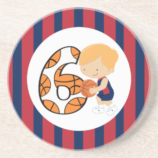 6th Birthday Blue and Red Basketball Player v2 Coasters