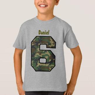 6th Birthday Boy Camo Six Year Custom Name V007F8 T-Shirt