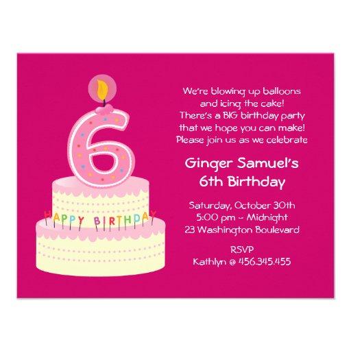 6th Birthday Cake Simple Invitation