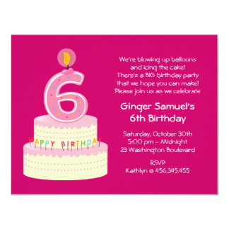 6th Birthday Cake Simple Invitation