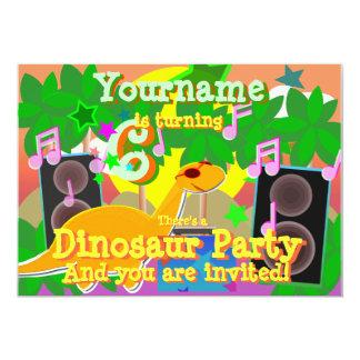 6th Birthday Cool Dinosaur DJ Party Invitations