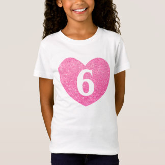 6th Birthday Faux Glitter heart-Print T-Shirt