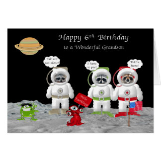 6th Birthday For Grandson Greeting Cards