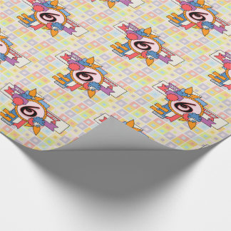 6th Birthday Fun Checkered and Cluster Design Wrapping Paper