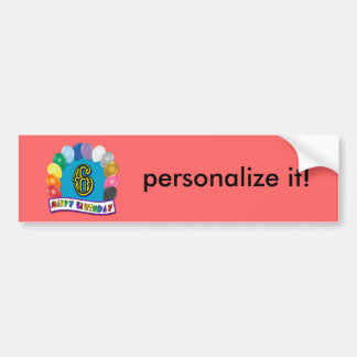 6th Birthday Gifts with Assorted Balloons Design Bumper Sticker