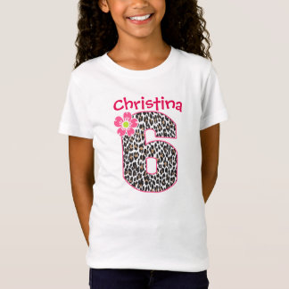 6th Birthday Girl Hot Pink & leopard print T-Shirt