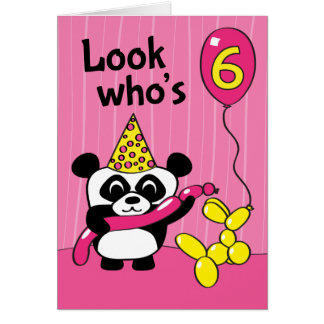6th Birthday - Girl Panda with Balloons Card