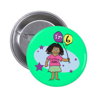 6th Birthday Girls Buttons