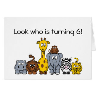 6th Birthday Invitation Cartoon Jungle Animals