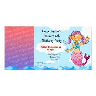 6th birthday mermaid girl party personalized photo card template