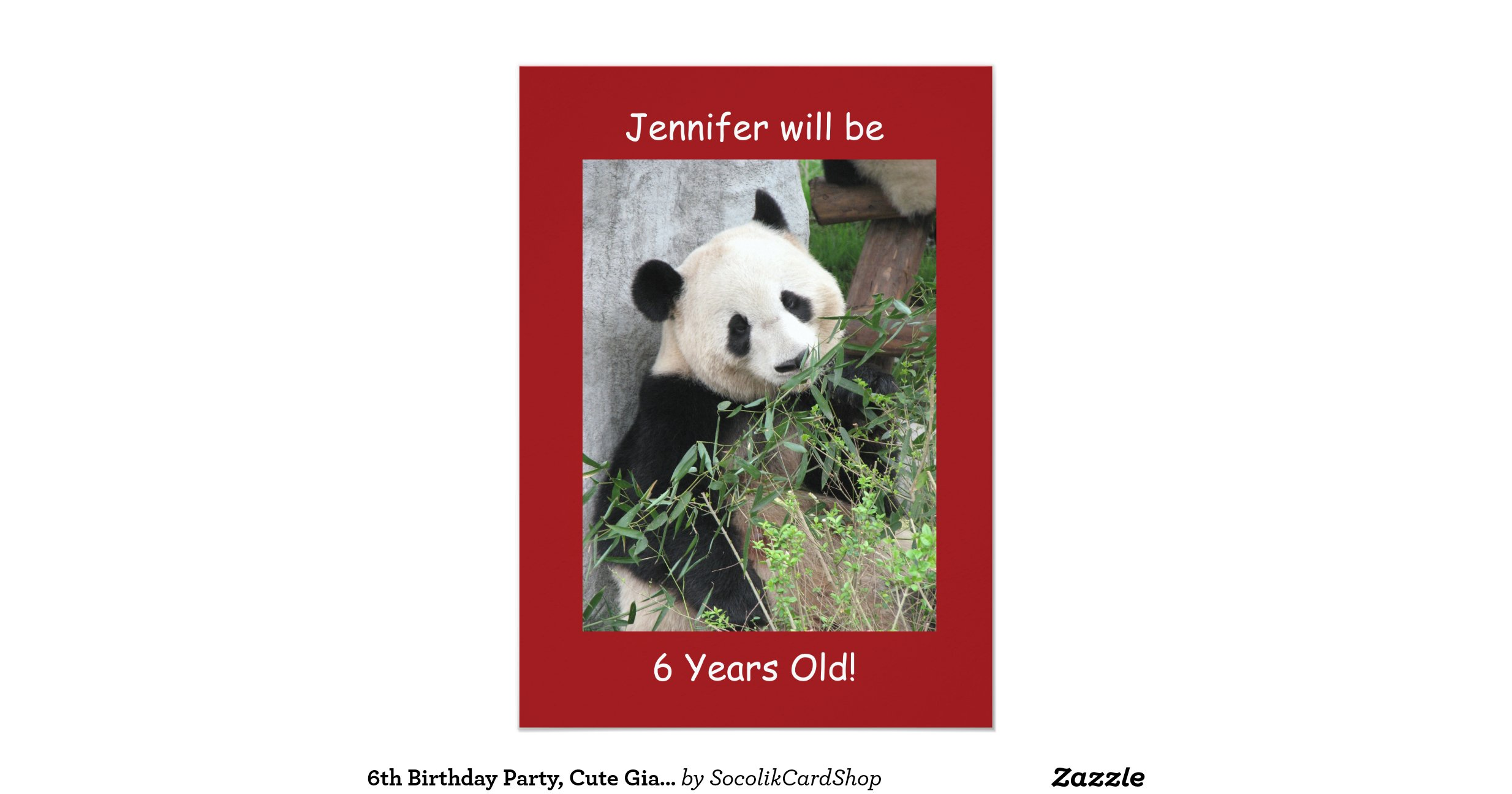 6th Birthday Party Invitation, Two-Sided Panda Red 13 Cm X 18 Cm ...