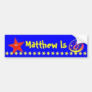 6th Birthday Party Red Smiley Star Decoration Bumper Sticker
