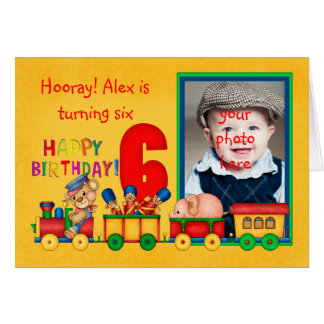 6th birthday photo card with toy train - toy train