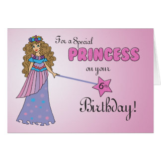 6th Birthday Pink Princess with Sparkly-Look Wand Card