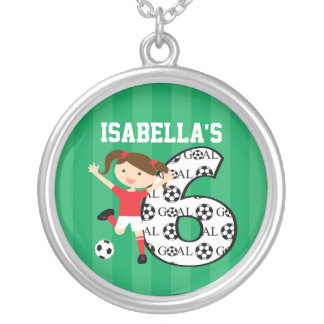 6th Birthday Red and White Soccer Girl 1 Necklace