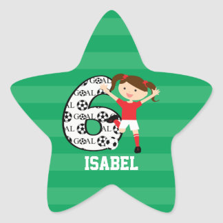 6th Birthday Red and White Soccer Girl 1 Star Stickers
