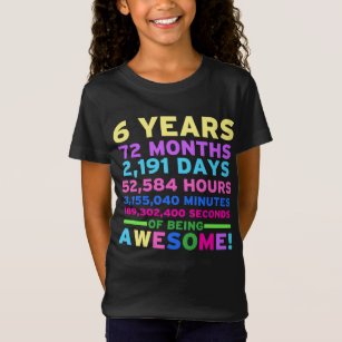 6th Birthday Shirt Boy Girl Six Years Of Awesome